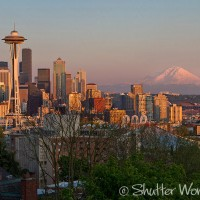 Shutter Wonders Photography Greeting Card - Downtown Seattle at sunset with the Space Needle and Mt. Rainier .