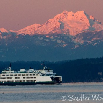 Shutter Wonders Photography Greeting Card - The ferry Chelan, with the Olympic mountains and sunrise.