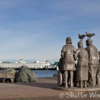 Shutter Wonders Photography Greeting Card - Watching Whales sculpture overlooks the Edmonds, Washington ferry terminal.