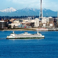 Shutter Wonders Photography Greeting Card - Seattle's Space Needle and ferry
