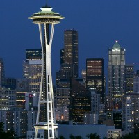 Shutter Wonders Photography Greeting Card - Space Needle and Seattle at night