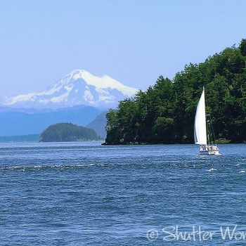 Shutter Wonders Photography Greeting Card - Mt. Baker and a sailboat, as seen from Thatcher Pass in the San Juan Islands