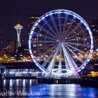 Shutter Wonders Photography Greeting Card - Seattle's Great Wheel with the Space Needle in the distance