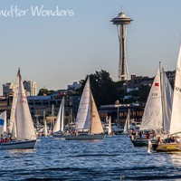 Shutter Wonders photography greeting card - sailboat race & the Space Needle